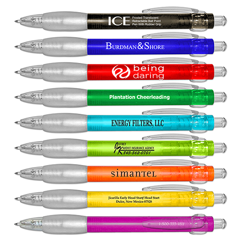 ICE - Frosted Translucent Retractable Ball Point Pen With Rubber Grip