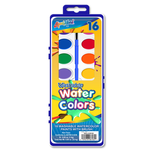 Set of 16 Color Washable Watercolor Paints with Brush