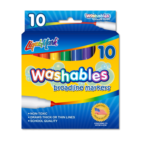 Set of 10 Washable Markers - Assorted Colors - USA Made