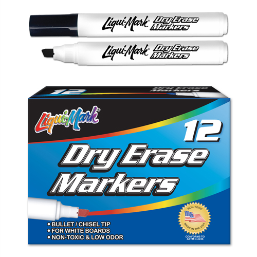 Set of 12 Chisel Tip Dry Erase Markers/Box - Black - USA Made