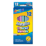 "Set of 12 Metallic Colored Pencils 7"" Pre-Sharpened - Assorted Colors"