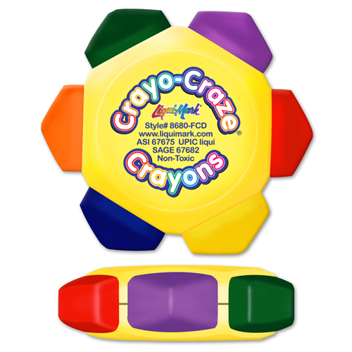 Crayo-Craze® 6 Color Crayon Wheel -Yellow - Full Color Decal