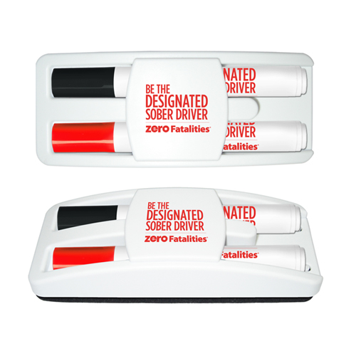 Dry Erase Gear Marker & Eraser Set with Black & Red Markers